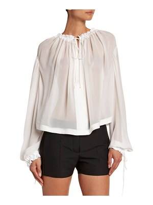 TOM FORD Silk Chiffon Smocked Blouse