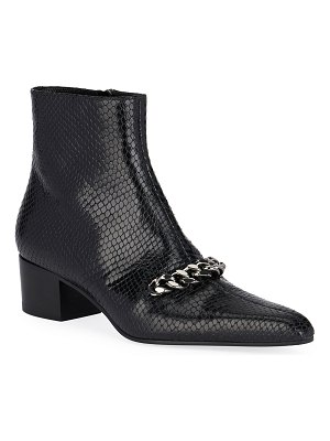 TOM FORD Snake-Embossed Chain Ankle Booties