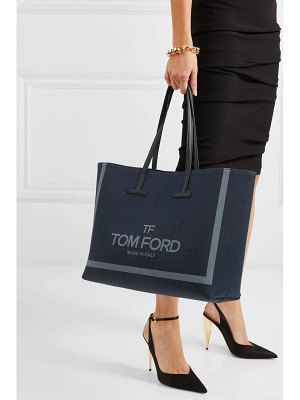 TOM FORD t medium leather-trimmed printed denim tote