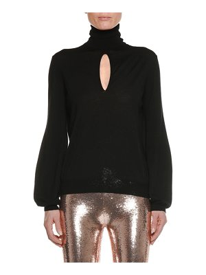 TOM FORD Turtleneck Keyhole Long-Sleeve Cashmere-Silk Top