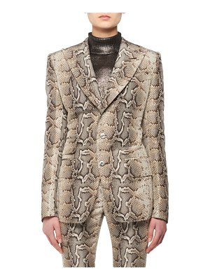TOM FORD Two-Button Snake-Print Stretch-Cotton Twill Jacket
