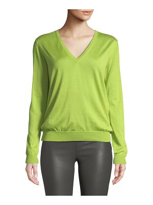 TOM FORD V-Neck Long-Sleeve Fine Cashmere-Silk Top