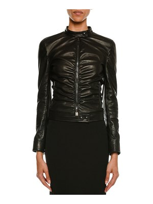 TOM FORD Zip-Front Ruched Napa Leather Biker Jacket
