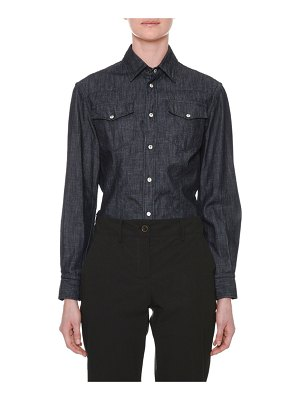Tomas Maier Long-Sleeve Button-Down Denim Shirt