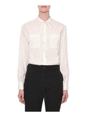 Tomas Maier Long-Sleeve Tie-Neck Button-Front Cotton Shirt