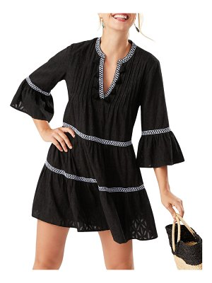 Tommy Bahama Embroidered Tassel V-Neck Cotton Tunic Dress