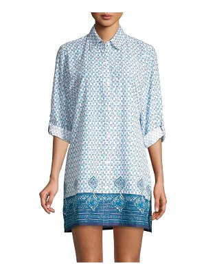 Tommy Bahama Floral Isles Printed Boyfriend-Fit Shirt Coverup