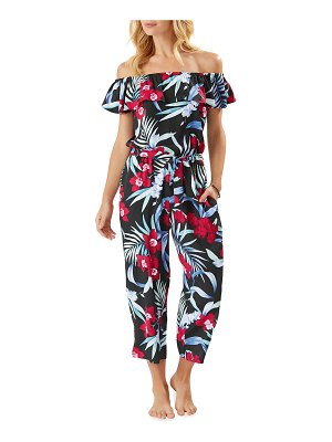 Tommy Bahama Midnight Orchid Off-the-Shoulder Cropped Jumpsuit