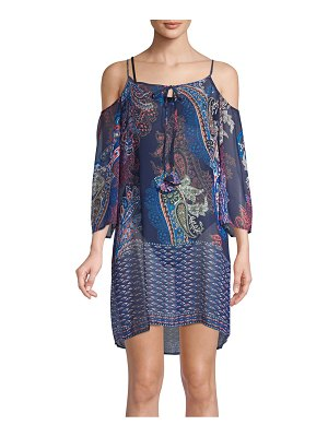 Tommy Bahama Paisley Leaves Cold-Shoulder Coverup