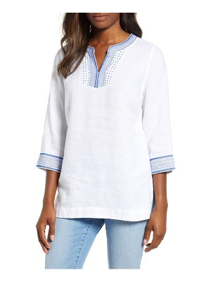 Tommy Bahama palmbray embroidered linen tunic top