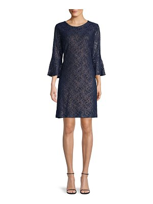 Tommy Hilfiger Floral Lace Bell-Sleeve Shift Dress