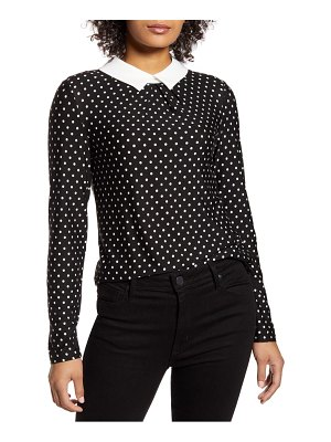 Tommy Hilfiger polka dot collared long sleeve blouse