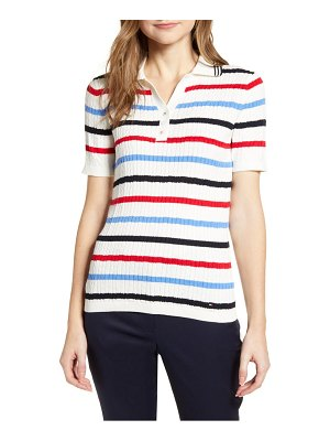 Tommy Hilfiger stripe short sleeve cotton sweater