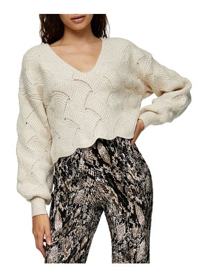 Topshop all over pretty stitch crop sweater