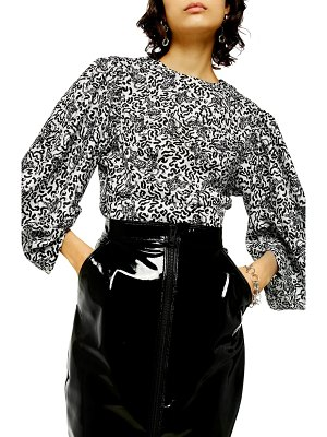 Topshop animal print balloon sleeve blouse