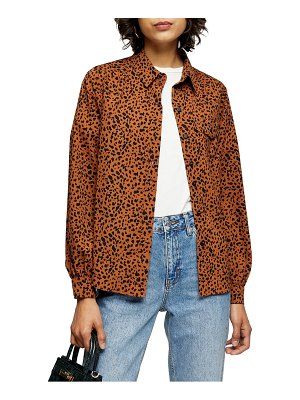 Topshop animal print button front shirt