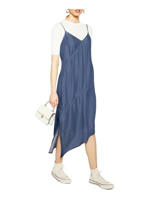 Topshop asymmetrical denim midi dress