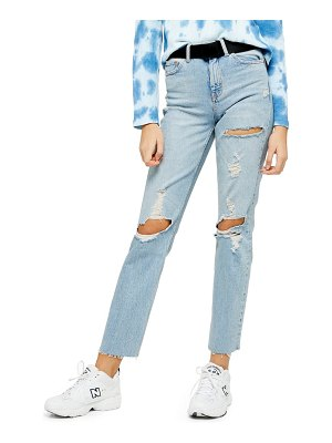 Topshop belted straight leg jeans