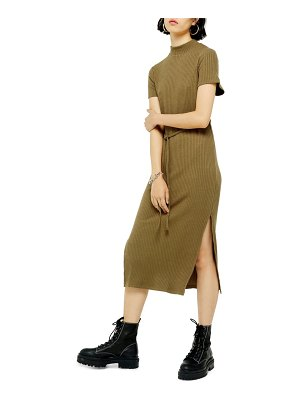 Topshop belted ribbed midi dress