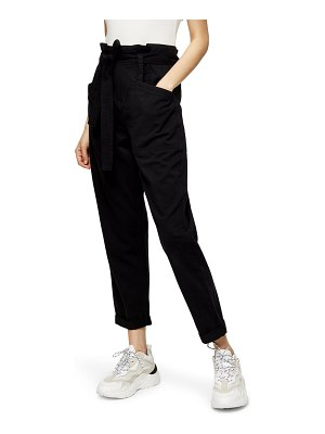 Topshop billy paperbag waist crop utility trousers