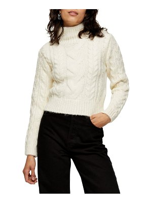 Topshop cable roll crop sweater