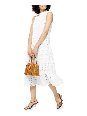 Topshop chuck-on broderie sleeveless midi dress