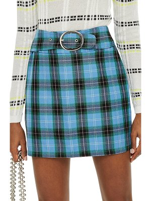 Topshop circle buckle check miniskirt