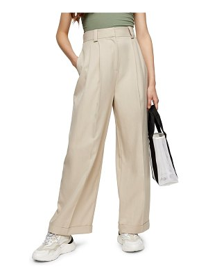 Topshop cuffed wide leg trousers