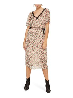 Topshop ditsy embroidered lace midi dress
