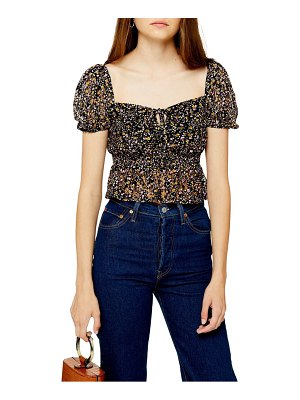 Topshop ditsy floral lace crop top