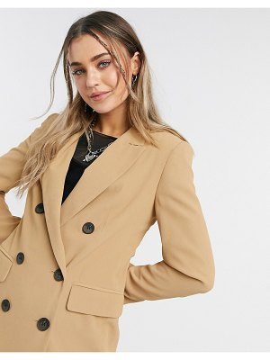 Topshop double breasted blazer in camel-tan