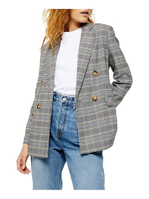 Topshop double breasted plaid blazer