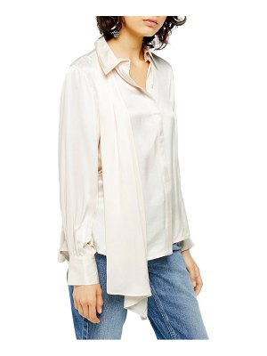 Topshop drape button front blouse