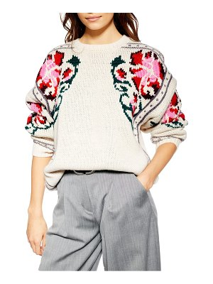 Topshop floral border embroidered sweater