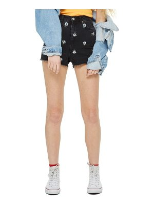 Topshop floral embroidered mom shorts