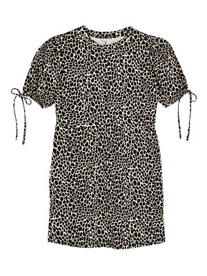 Topshop animal print tie puff sleeve minidress