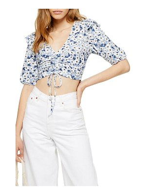 Topshop floral ruched crop top