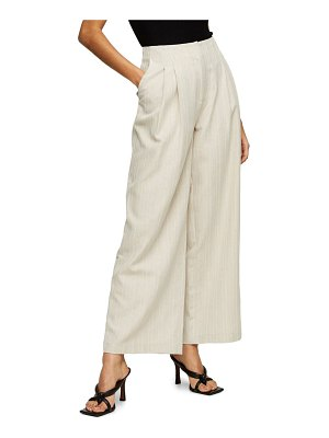 Topshop herringbone linen wide leg trousers