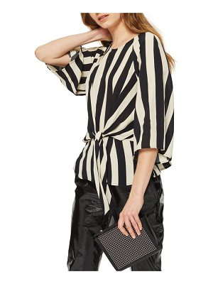 Topshop humbug stripe slouch knot blouse