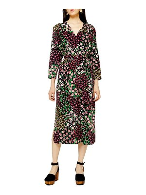Topshop long sleeve belted floral midi dress