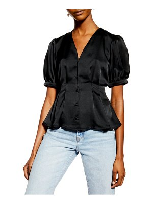 Topshop pleated button front satin top