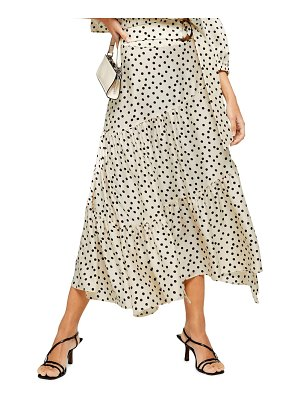 Topshop polka dot tiered midi skirt