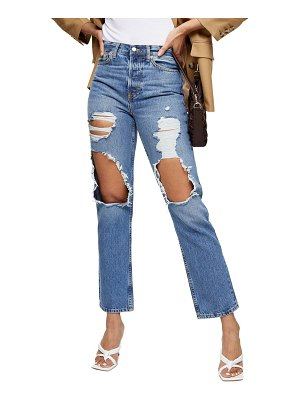 Topshop ripped high waist ankle dad jeans