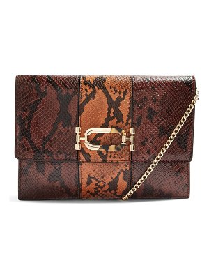 Topshop snake embossed convertible faux leather clutch