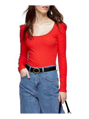 Topshop square neck puff sleeve top