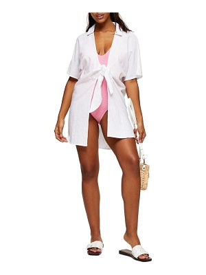Topshop tie beach cover-up shirt