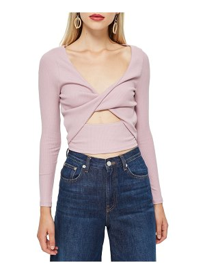Topshop twist front rib top