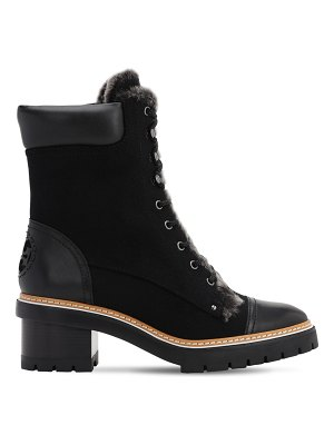 Tory Burch 60mm miller suede & shearling boots