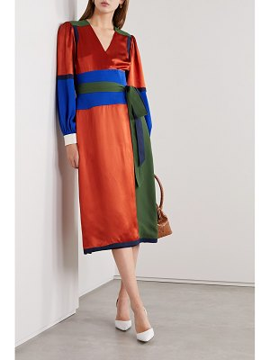 Tory Burch belted color-block silk-blend satin and crepe wrap dress