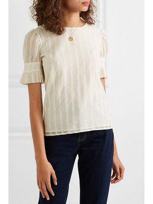 Tory Burch broderie anglaise cotton and silk-blend georgette and stretch-cotton jersey top